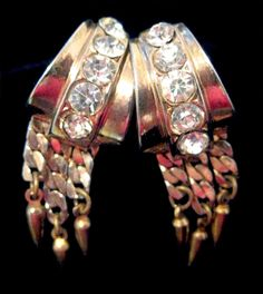 Vintage Signed CORO Screw Back Earrings Gold Tone Clear Rhinestone Dangle Drop Chain Modernist Abstract Pendulum Design by eKatJewels on Etsy