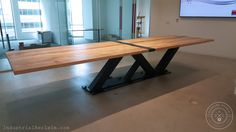 Custom Cantilevered Conference Table Modern Minimal Steel Wood - Modern industrial conference table
