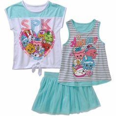 Shopkins Girls' SPK 3 Piece Set, Tee, Tank & Skort Size XS (4/5) #Shopkins #Set #Everyday