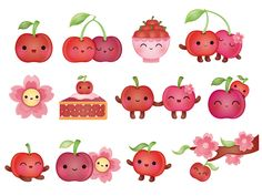 Kawaii Cherry Stickers, Peaceable Kingdom, USA by Silvia Portella, via Behance Kawaii Drawings, Cartoon Drawings, Cute Drawings, Kawaii Chibi, Kawaii Art, Printable Stickers, Planner Stickers, Kawaii Illustration, Cartoon Painting