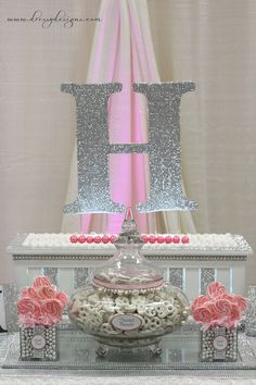 Silver and pink dessert candy buffet