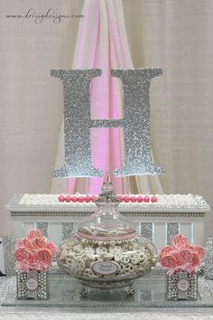 Silver and pink dessert candy buffet