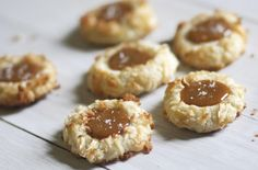 Coconut Thumbprint Cookies with Salted Caramel via The Baker Chick  http://www.the-baker-chick.com/2012/01/coconut-thumbprint-cookies-with-salted-caramel/