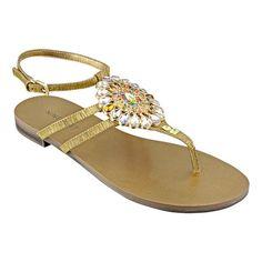 "Jeweled ornament thong 1/4"" sandal.  Adjustable ankle buckle closure. $49.00"