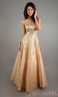 Strapless Sequin Ball Gown at PromGirl.com