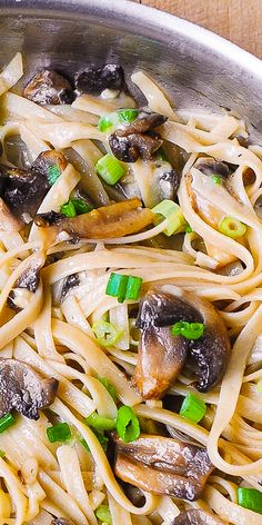 Garlic Mushroom Pasta smothered in butter and shredded Parmesan cheese #Italian #pasta #dinner #mushrooms