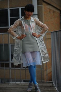 Vintage polka dot clear rain mac