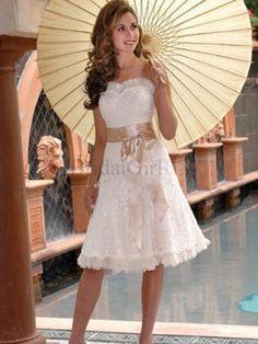 Vintage A-line Sweetheart Lace White Knee-length Beach Wedding Dress - Wedd