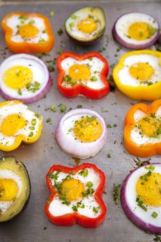 Cute way to fry/bake eggs! I reckon theyll also be slightly infused with the veggies flavours too! Yum!