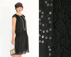 Black flapper dress with cap sleeves, beaded flapper dress, sequined 1920s flapper dress, Great Gatsby, Downton Abbey dress, drop waist auf Etsy, 111,16 €