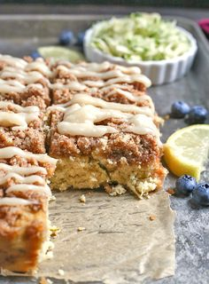 This Paleo Lemon Zucchini Coffee Cake is tender, moist, and has the best crumb topping! It's gluten free, dairy free, and is sure to become a new favorite! This coffee cake was the result of Gluten Free Zucchini Recipes, Gluten Free Desserts, Paleo Recipes, Real Food Recipes, Flour Recipes, Free Recipes, Paleo Bread, Paleo Baking, Paleo Food