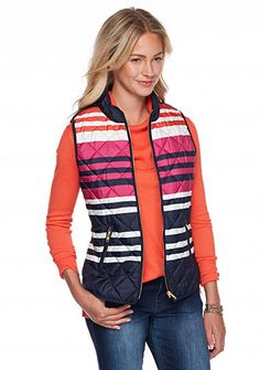 crown & ivy™ Stripe Puffer Vest