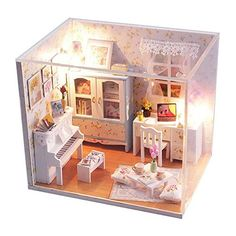 Flever Dollhouse Miniature DIY House Kit Creative Room With Furniture and Cover for Romantic Artwork Gift blooming summer day -- Learn more by visiting the image link.