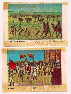 Last set of Bubble Gum Wrappers from Morocco 1971 a Buffalo Chase doesn't look like the Plains to me nor the Native Americans. Love the visiting Arab tourist watching a procession in Mali.