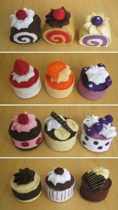 DusiCrafts by Dušanka Sirše: Felt fake food - Cupcakes / Male tortice iz filca Food Crafts, Crafts For Kids, Felt Food Patterns, Felt Play Food, Pretend Food, Fake Food, Felt Fabric, Felt Diy, Felt Ornaments