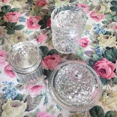 Glass butter dish and jam or cream pots.  Essential for a cream tea!