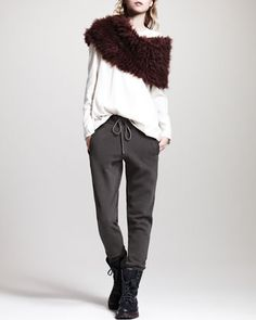 Long-Sleeve Layered Top, Cotton Drawstring Pants & Cashmere-Fur Knit Capelet by Brunello Cucinelli at Neiman Marcus.