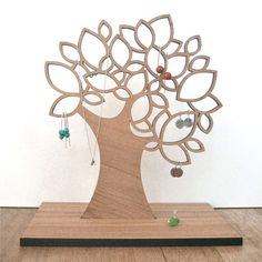 The laser-cut wood jewellery tree Laser Cutter Ideas, Laser Cutter Projects, Laser Art, 3d Laser, Wood Projects, Woodworking Projects, Projects To Try, Woodworking Shop, Laser Cut Metal