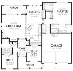 Cottage Style House Plan - 3 Beds 2.5 Baths 1580 Sq/Ft Plan #48-102 Floor Plan - Main Floor Plan - Houseplans.com