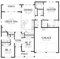 Cottage Style House Plan - 3 Beds 2.5 Baths 1580 Sq/Ft Plan #48-102 Floor Plan - Main Floor Plan - Houseplans.com