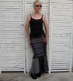 Maxi Skirt M/L Upcycled Skirt Black Gray and Wine by AnikaDesigns, $68.00