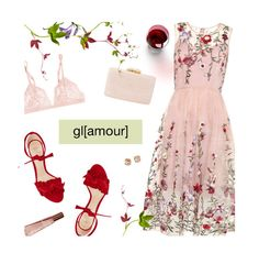 """Pink Floral Dress"" by magdafunk ❤ liked on Polyvore featuring Kayu, Alexandre Birman, Lancer Dermatology, La Perla, Tory Burch and Chloé"