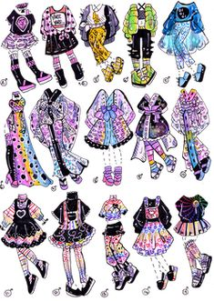 Dress Design Sketches, Fashion Design Sketchbook, Fashion Design Drawings, Character Costumes, Character Outfits, Anime Outfits, Cute Outfits, Animes Emo, Drawing Anime Clothes