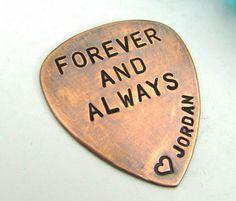 Personalized Guitar Pick  Hand Stamped by FiredUpLadiesHammer