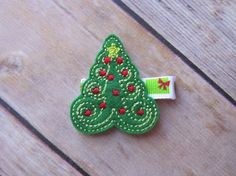 Christmas Tree hair clip  Christmas Hair by TiedStitches on Etsy