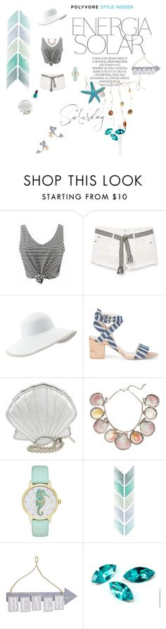 """""""Beach"""" by fuffa ❤ liked on Polyvore featuring MANGO, Eric Javits, Sole Society, Skinnydip, Paolo Costagli, Magdalena, Kate Spade and Pier 1 Imports"""