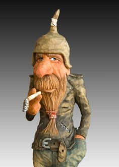 Neatly detailed caricature carving #woodcarving