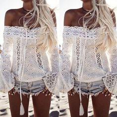Stylish Womens Off Shoulder Lace T-Shirt Tops Casual Summer Beach Blouse Shirt