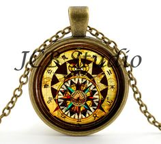 Steampunk Compass - Steampunk Necklace - Steampunk Pendant - Vintage Compass Picture Jewelry