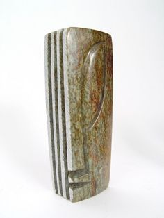 Abstract Head Square w/ Vertical Lines - Shona Stone Sculpture.  $24.00