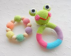 SALE Baby rattle Frog Baby toy SET of 2 Grasping and Teething Toys Pastel colors Frog Stuffed toys Gift for baby Girls Boys Crochet Designs, Crochet Patterns, Crochet Baby Toys, Teething Toys, Baby Teething, Baby Rattle, Baby Girl Gifts, Toddler Toys, Toys For Girls