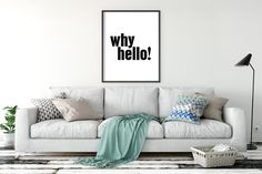 Wall Words Typography Printable Hello Letters by OjuDesign on Etsy