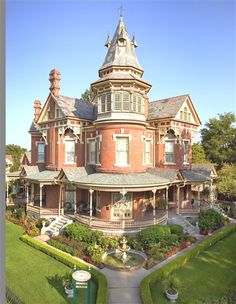 The Hornibrook Mansion c.1888, Little Rock, AR || Stained glass windows, multiple fireplaces, sweeping staircase, meticulous landscaping, vintage light fixtures, each bedroom has it own bath. Carriage house has 3 bedrooms and three baths. Large sweeping staircase. Slate roof. Soaring ceilings, hidden tower room with city skyline views.