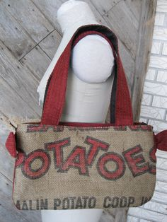 Upcycled potato sack purse-- haha there we go, thats what i need!