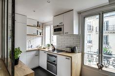 Cocina pequeña en piso de 38 metros cuadrados (PARIS) - Decoratualma