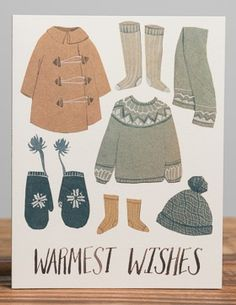 Warmest Wishes Snow Clothes | Red Cap Cards