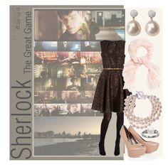 """""""(BBC) Sherlock   Set by Episode [4]"""" by chelsealauren10 ❤ liked on Polyvore featuring Kate Spade, Dorothy Perkins, Rocha.John Rocha, Marco Bicego, Sam Edelman, L.K.Bennett, pearl earrings, pearl necklaces, tweed dress and business dress"""