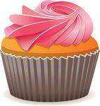 Clip Art Vector of vector cupcake with pink cream csp8806826 - Search Clipart, Illustration, Drawings, and EPS Vector Graphics Images
