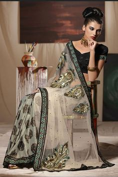 Embroidered sheer beige with black trim wedding sari, high-fashion Indian bride India Fashion, Ethnic Fashion, Asian Fashion, High Fashion, Beautiful Saree, Beautiful Outfits, Indian Dresses, Indian Outfits, Moda India