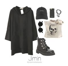 """""""BTS Inspired [Black]"""" by youaremorethanbeautiful ❤ liked on Polyvore featuring Retrò, T.U.K., Topman and Kate Spade"""
