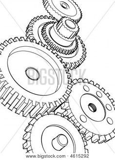 Gears Cogs And Other Nicknacks on engine white background