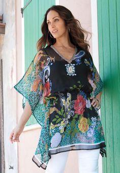 Plus Size Border Print Top | Plus Size Shirts & Blouses | Jessica London