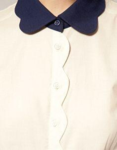 Asos Scalloped Collar Blouse