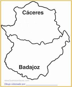 mapa de Extremadura imprimir para colorear   PULSAR SOBRE LA IMAGEN PARA IMPRIMIR Pulsar, Maps, Nutcrackers, Free Coloring, Drawings