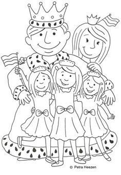 Kings Day - King Wiilem Alexander, Queen Maxima, princesses Amalia, Alexia and Ariane koningsdag Disney Coloring Pages, Colouring Pages, Coloring Sheets, Cultural Crafts, I Love School, Dragons, Château Fort, Kid Rock, Kings Day