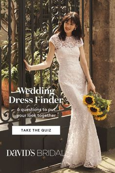 Take our wedding dress quiz to find the perfect wedding dress for you! Pick your style, neckline and body type to discover stunning bridal gown options from David's Bridal! Wedding Dress Quiz, Wedding Dress Finder, Perfect Wedding Dress, Prom Dresses For Teens, Prom Dresses With Sleeves, Black Prom Dresses, Bridal Gowns, Wedding Gowns, Wedding Cakes